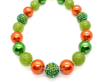 Green and Orange Chunky Necklace - Pumpkin Chunky Necklace - Halloween Bubblegum Necklace - Fall orange and green necklace