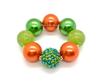 Orange and Green Chunky Bracelet - Pumpkin chunky bracelet - Halloween toddler bracelet - Pumpkin costume bracelet