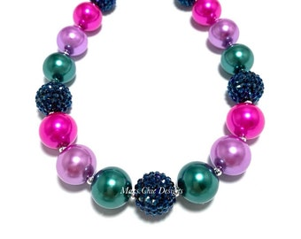 Colorful Fall Chunky Necklace - Navy, Green, Purple and Hot pink Bubblegum Necklace - Fairy Necklace - Pink Mermaid Necklace