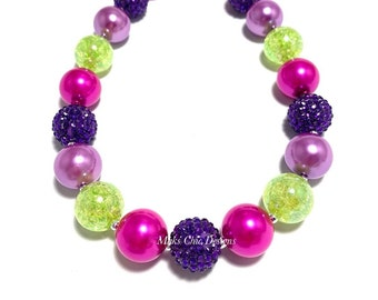 Purple, Hot Pink and Lime Green Chunky Necklace - Halloween Bubblegum Necklace - Fairy Necklace - Pink and Green Necklace - Purple Necklace