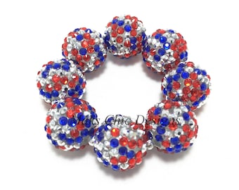 Baby, Toddler, Girls, Teen, Ladies All Bling Patriotic Sparkle Chunky bracelet - Red, Silver and Blue Bracelet - Fourth of July Bracelet