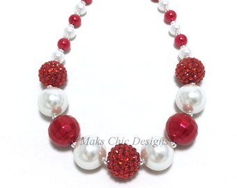 Red and White Chunky Necklace - Girls Pearl Necklace - Christmas Chunky Necklace - Flower Girl Necklace - Santa Chunky Necklace