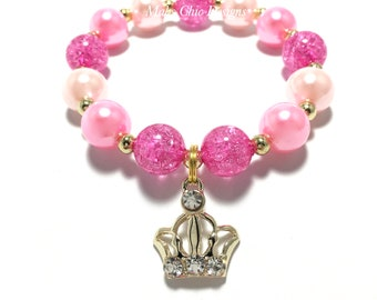 Toddler or Girls Gold Crown Charm Small Beaded Bracelet - Pink and Gold Princess Bracelet - Girly Pink Bracelet - Girls Princess Bracelet