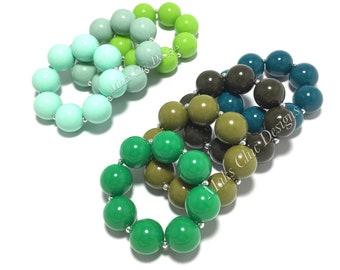 Toddler or Girls Solid Color Chunky bracelets - Shades of Green Bracelets - Mint, Lime Green, Olive, Teal, Dark Green Bracelets - Dinosaurs