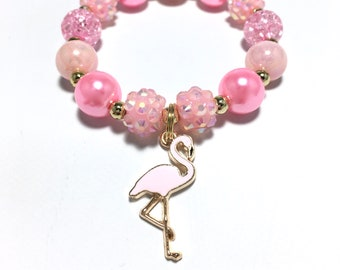 Toddler or Girls Small Beaded Pink Flamingo Charm Bracelet - Light Pink Bird Bracelet - Tropical Bracelet - Pink Flamingo Birthday Favors