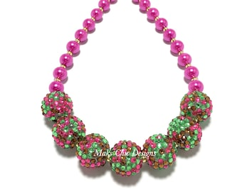 Toddler or Girls Hot Pink, Brown and Green Chunky Necklace - Girls Spring Chunky Necklace - Easter Chunky Necklace - Pink Sparkle Necklace