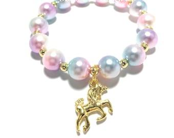 Toddler or Girls Small Beaded Unicorn Charm Bracelet - Girls Pink, Gold, Purple and Blue Bracelet - Gold Unicorn Bracelet - Unicorn Bracelet