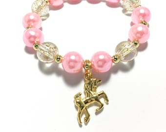 Toddler or Girls Small Beaded Unicorn Charm Bracelet - Girls Pink and Gold Bracelet - Gold Unicorn Bracelet - Unicorn Birthday Bracelet