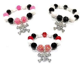 Toddler or Girls Small Beaded Skull Charm Bracelet - Pirate Bracelet - Skull and Crossbones bracelet - Red and Black Pirate Bracelet - Rebel
