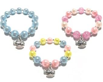 Girls Small Beaded Teapot Charm Bracelet - Pink teacup Bracelet - Tea party bracelet favors - Pink, Blue and Yellow Beaded Bracelet - Spring