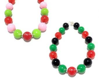 Toddler or Girls Watermelon Chunky necklace - Pink Strawberry Chunky Necklace - Fruity Necklace - Red, Green, Pink, Black Necklace - Summer