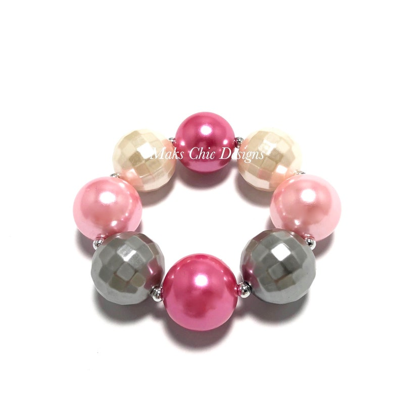 Pink Silver and Ivory Chunky Bracelet  Ballerina Chunky image 0