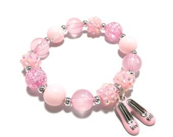 Toddler or Girls Small Beaded Pink Shoe Charm Bracelet - Ballerina Bracelet - Princess PinkBracelet - Ballet shoe charm bracelet - Recital