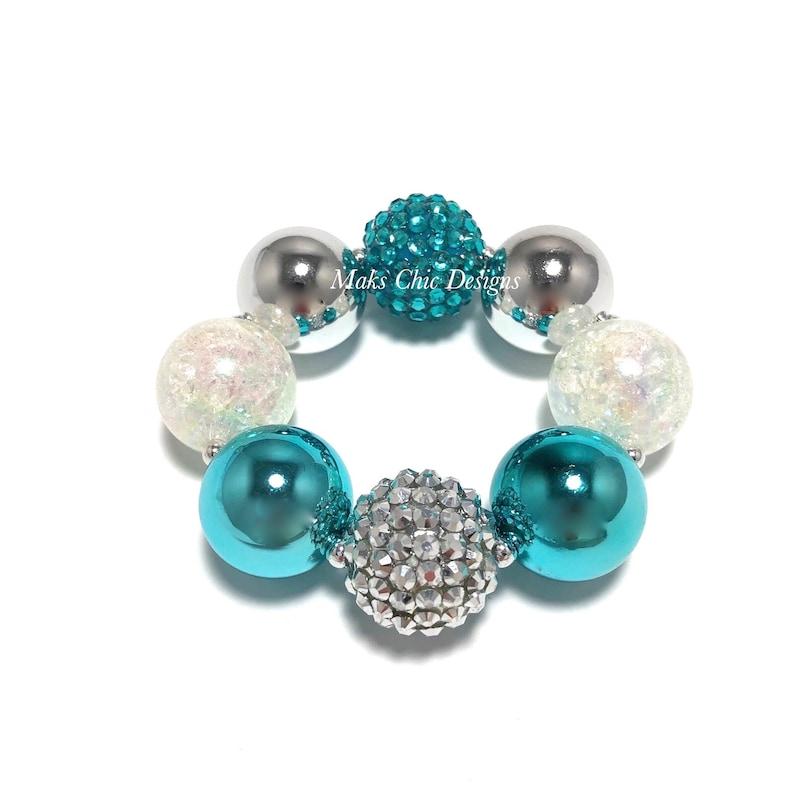 Metallic Chunky Bracelet  Silver White and Turquoise Chunky image 0