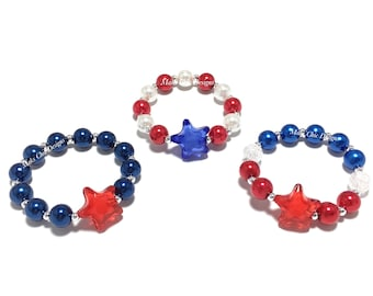 Toddler or Girls Star Small Beaded Bracelet - Girls Red, White and Blue Pearl Bracelet - Navy and Red Fourth of July Bracelet - Blue Star