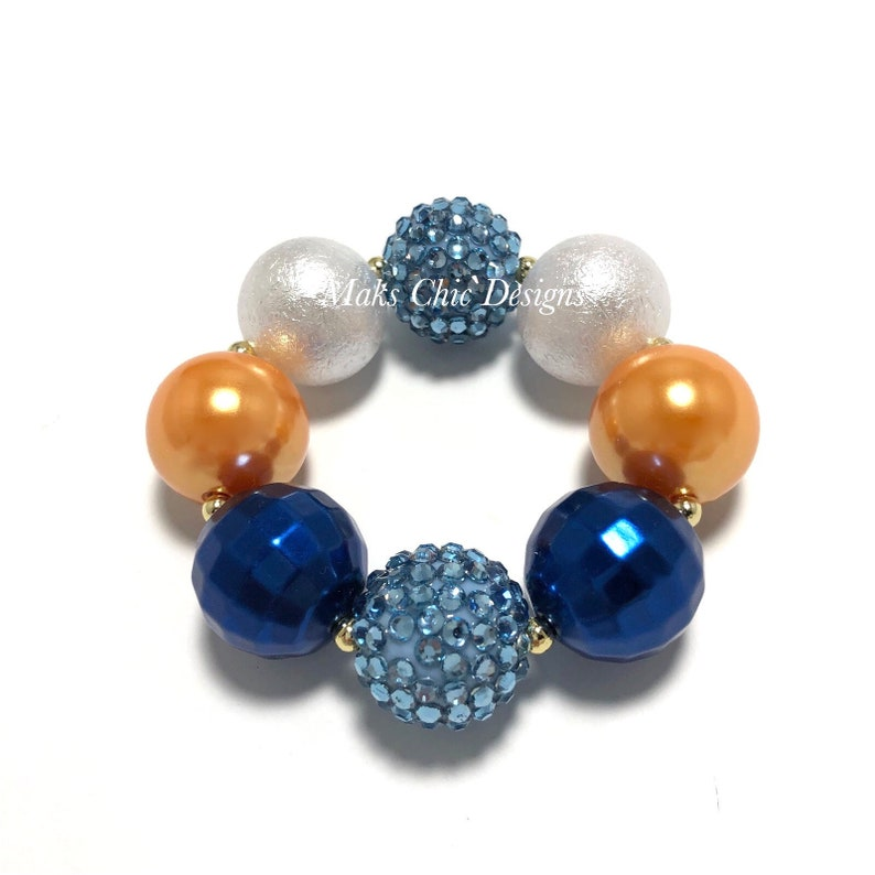 Blue Yellow Gold and White Chunky Bracelet  Back to school image 0