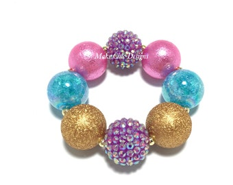 Toddler or Girls Chunky Bracelet - Purple Unicorn bracelet - Princess bracelet - Pink Mermaid Bracelet - Purple, Gold, Pink and Turquoise
