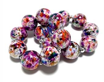 Multi-color Pearl Chunky bracelet - Paint Splatter chunky bracelet - Halloween Chunky Bracelet - Bubblegum Bracelet - Orange and Purple