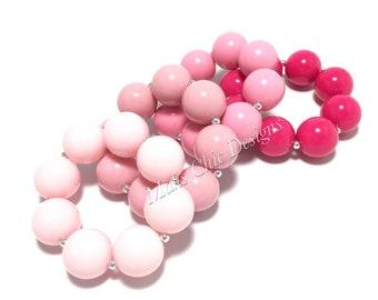 Toddler or Girls Solid Color Chunky bracelets - Shades of Pink Bracelet - Hot pink Bracelet - Princess Pink Bracelet - Gumball Bracelet