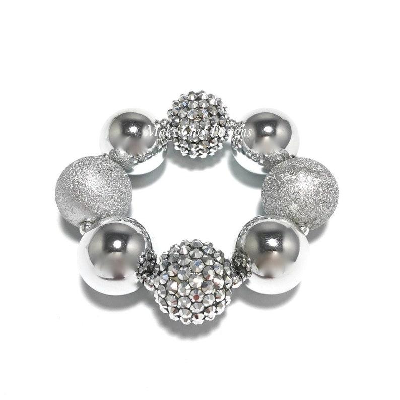 Metallic Silver Chunky Bracelet  Grey Chunky Bracelet  image 0