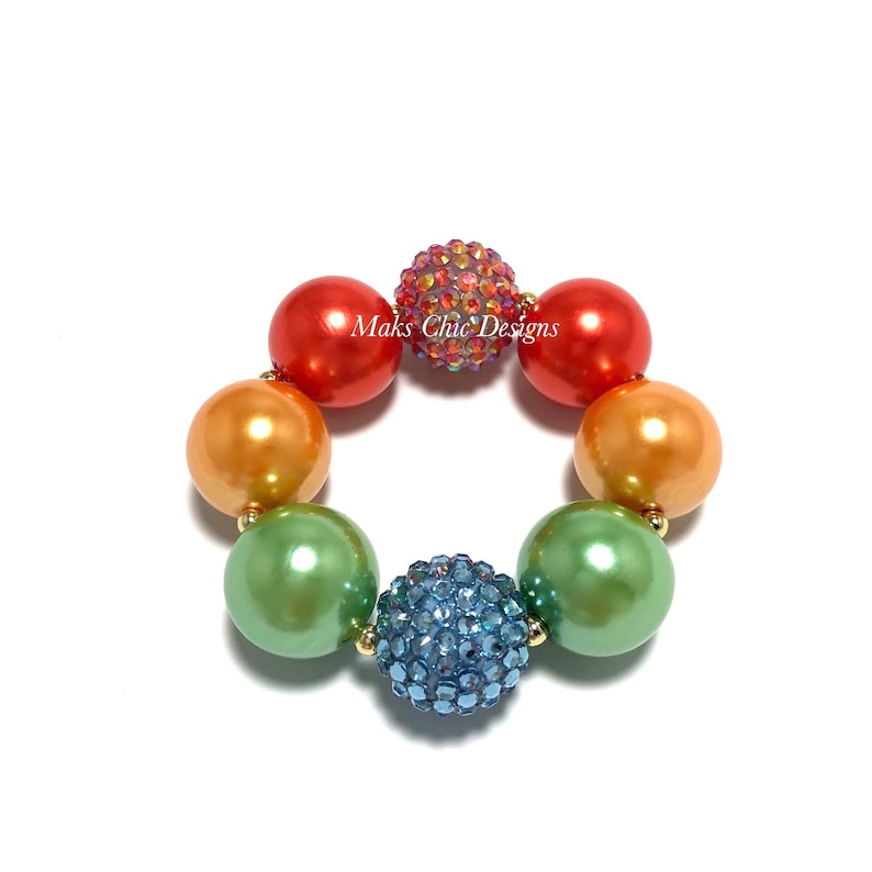 Fall Rainbow Chunky Bracelet  Red Orange Yellow Green image 0