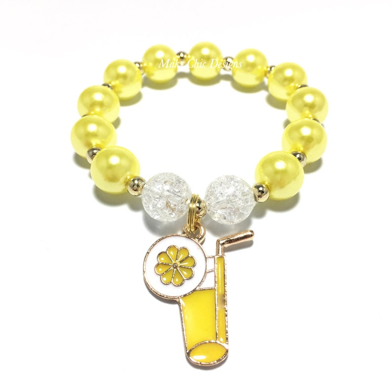 Yellow Lemonade Charm Bracelet Yellow Lemon and White Bracelet Girls Pink and Yellow Bracelet Pink Lemonade Bracelet Lemon Bracelet