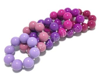 Toddler or Girls Solid Color Chunky bracelets - Shades of Purple Chunky Bracelet - Lavender Bracelet - Magenta, Raspberry, Purple, Mauve