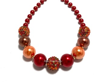 Fall Classy Chunky necklace - Red, Brown and Orange Necklace - Confetti Chunky Necklace - Multi-color Fall Necklace
