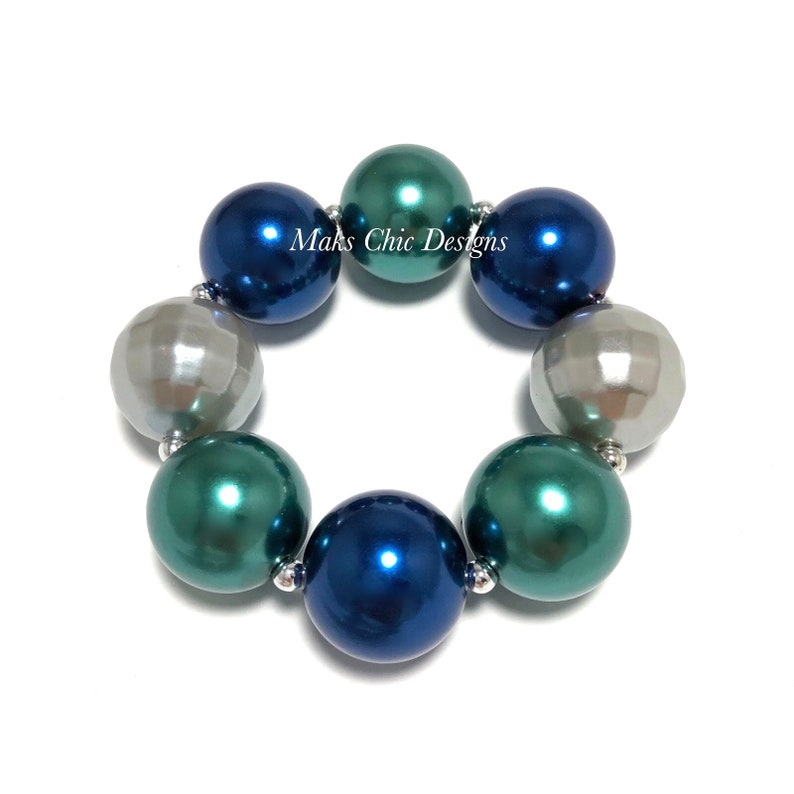 Dark Blue Silver and Green Chunky bracelet  Plaid Chunky image 0