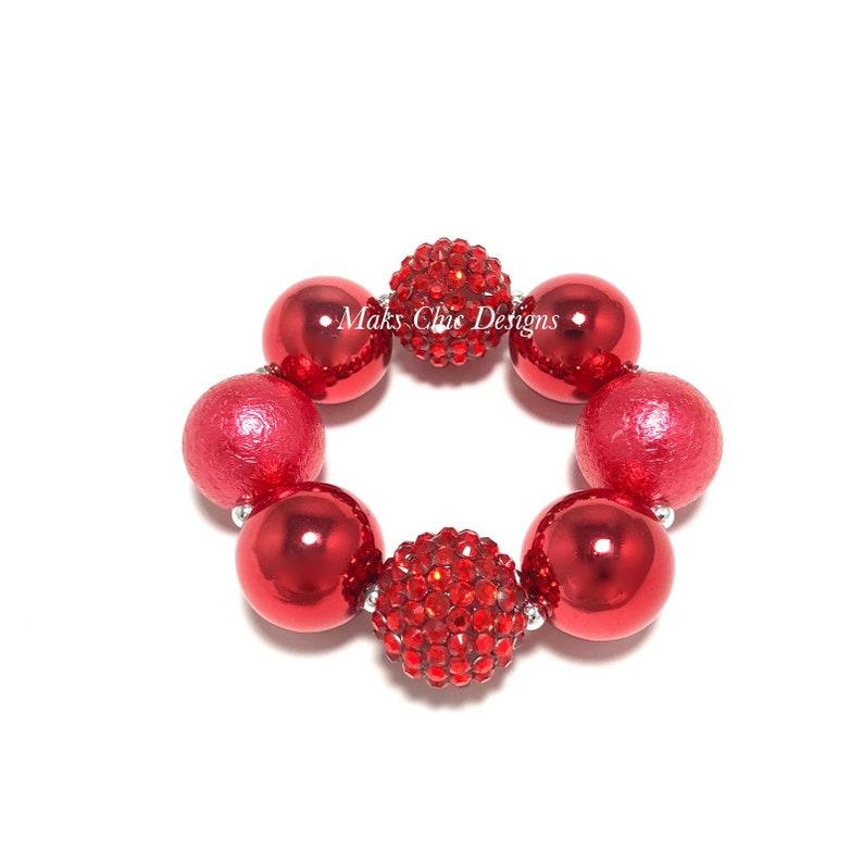 Metallic Red Chunky Bracelet  Christmas Chunky Bracelet  image 0