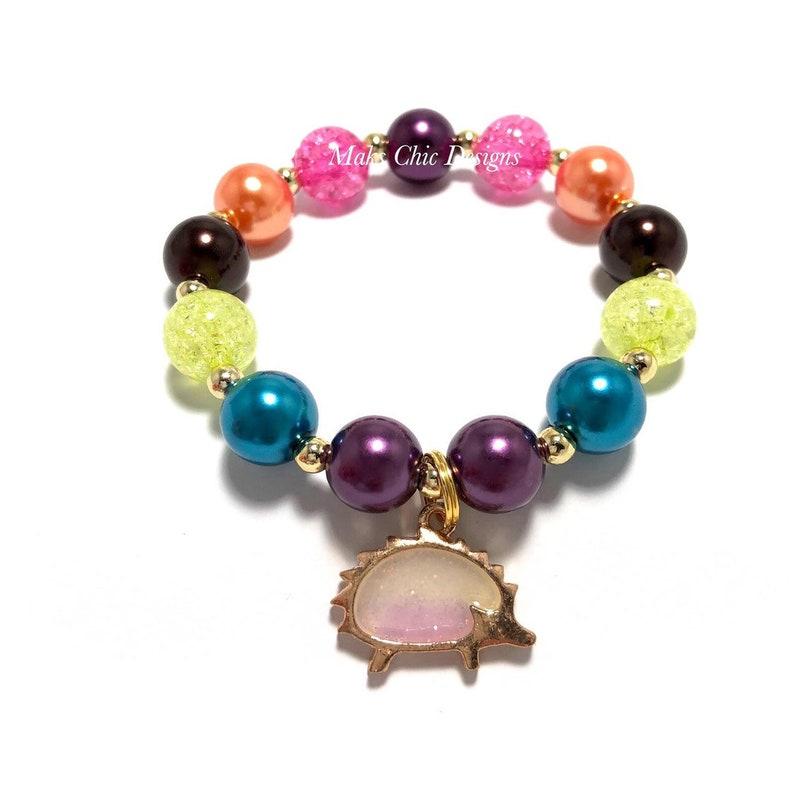 Purple Hedgehog Charm Bracelet  Fall Animal Charm Bracelet  image 0