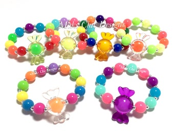 Toddler or Girls Candy Beaded Bracelet - Neon Beaded Bracelet - Candy Birthday Party Favors - Rainbow Candy Bracelet - Gumball birthday