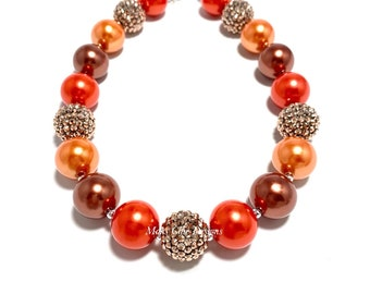 Fall Chunky Beaded Necklace - Orange, Brown and Copper Chunky necklace - Fall Orange Necklace - Thanksgiving Chunky Necklace