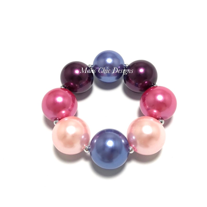 Pink and Blue Chunky bracelet  Fall Chunky Bracelet  Plum image 0