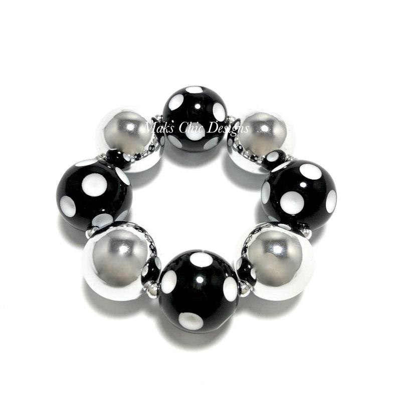 Black and Silver Chunky bracelet  Polkadot Chunky Bracelet  image 0