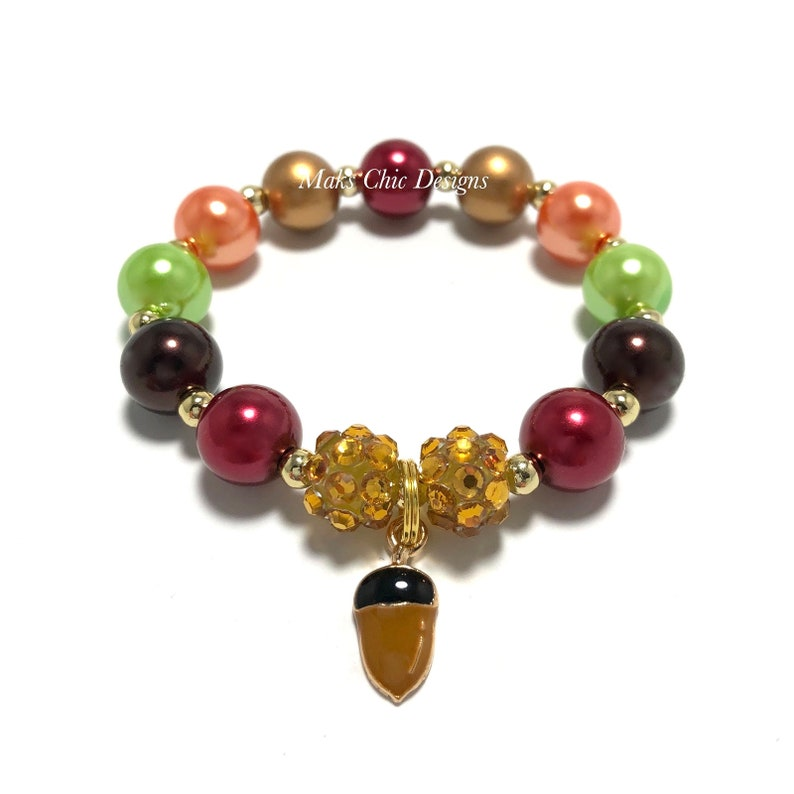 Acorn Charm Bracelet  Colorful Fall Acorn Bracelet  Autumn image 0