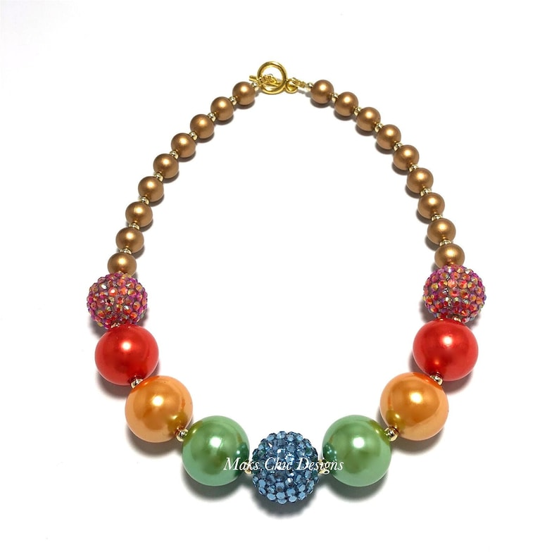Fall Rainbow Chunky Necklace  Blue Green Yellow orange image 0