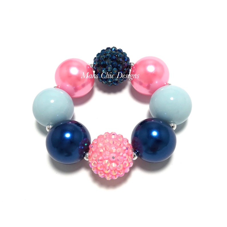 Pink and Blue Chunky Bracelet  Back to school bracelet  Pink image 0