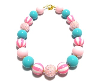 Pink Circus Chunky Beaded Necklace - Pink, Aqua and White Chunky Necklace - Carnival birthday necklace -  Bubblegum Necklace - Pink Circus