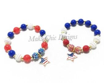 Toddler or Girls Small Beaded Patriotic Star Charm Bracelet - Girls Red, White and Blue Bracelet - Fourth of July Bracelet - Star Bracelet