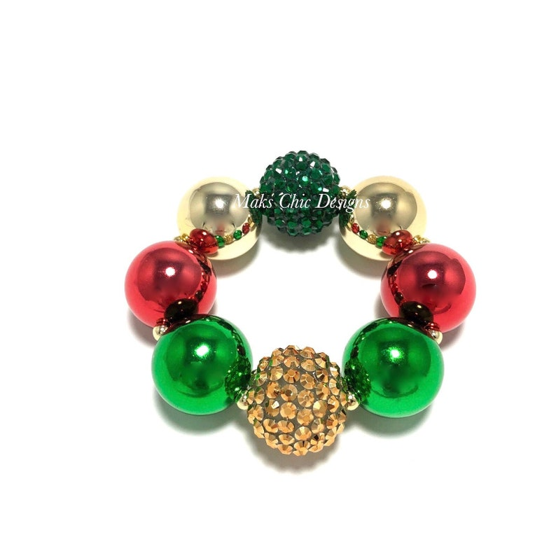 Red Green and Gold Chunky Bracelet  Metallic Christmas image 0