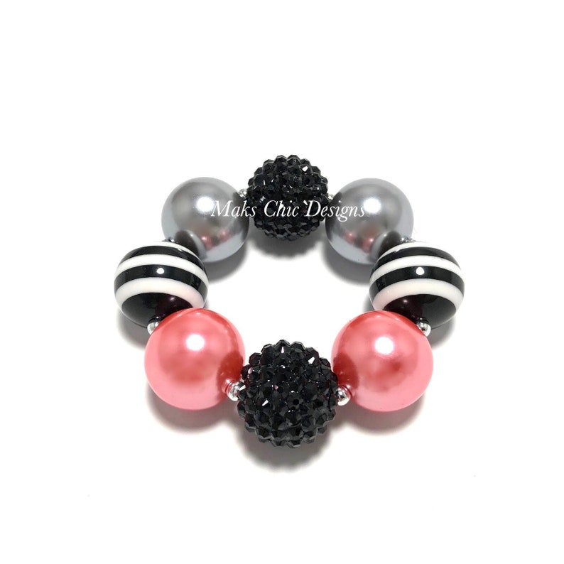 Coral and Black Chunky Bracelet  Fall Chunky Bracelet  Black image 0