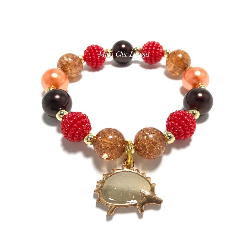 Hedgehog Charm Bracelet  Fall Animal Charm Bracelet  Red image 0