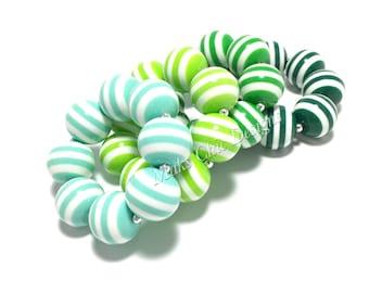 Toddler or Girls Striped Chunky bracelets - Dress up Bracelet - Mint, Lime Green, Dark Green Bracelet - Toddler Bracelet - Shades of Green