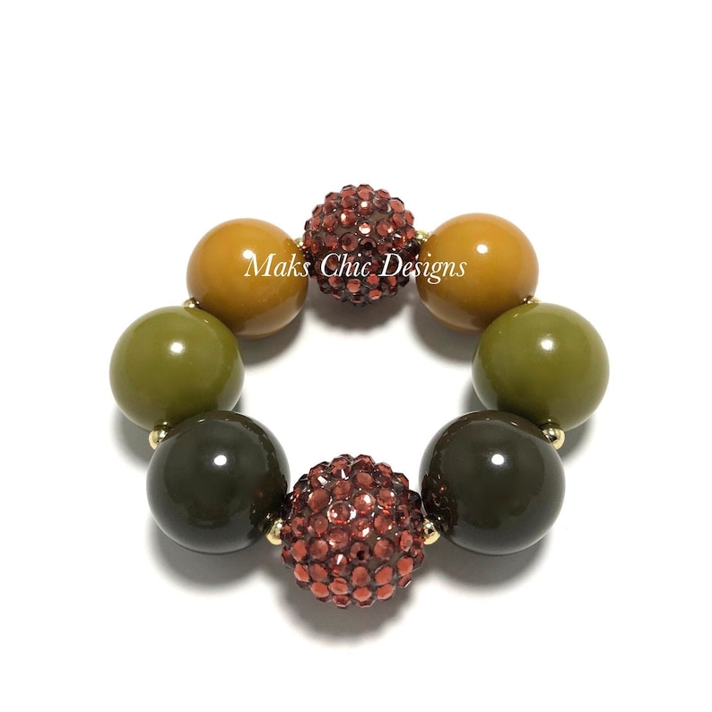 Fall Brown and Green Chunky Bracelet  Dark Green and Brown image 0