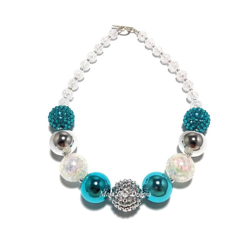Turquoise Silver and White Chunky Necklace  Snowflake Chunky image 0