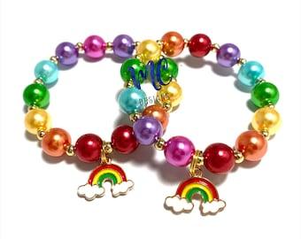 Rainbow Charm Bracelet - Colorful Pearl Beaded Bracelet - Rainbow Birthday Bracelet - Reverse rainbow bracelet- Unicorn Bracelet