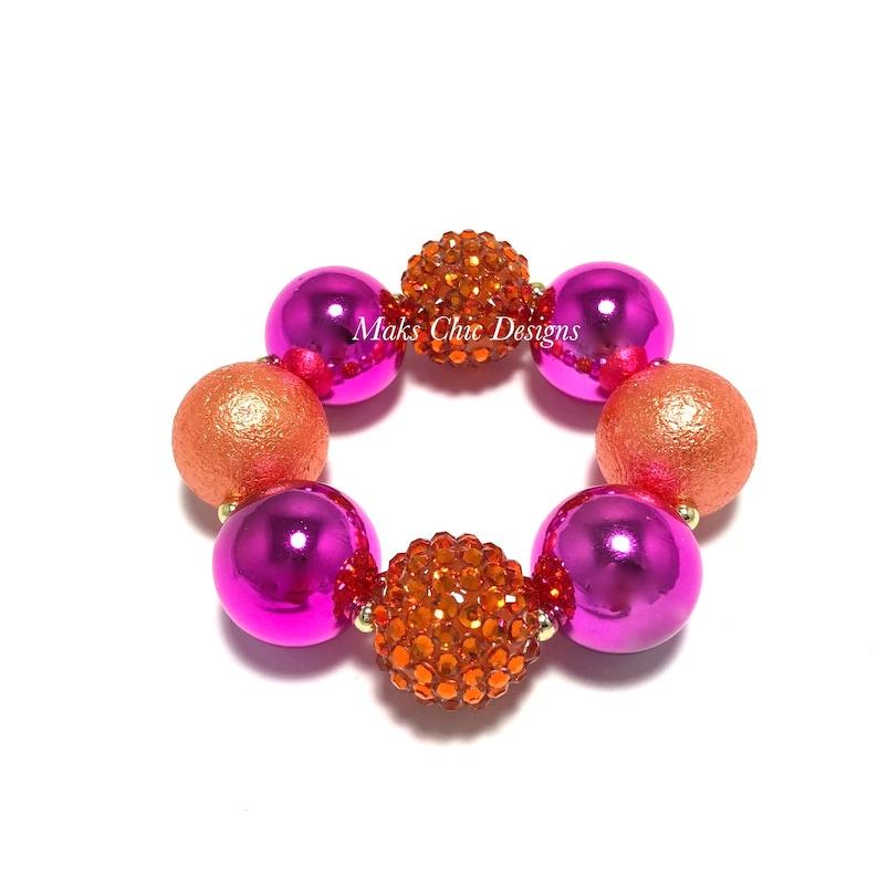 Hot Pink and Orange Chunky Bracelet  Fall pink bracelet  image 0
