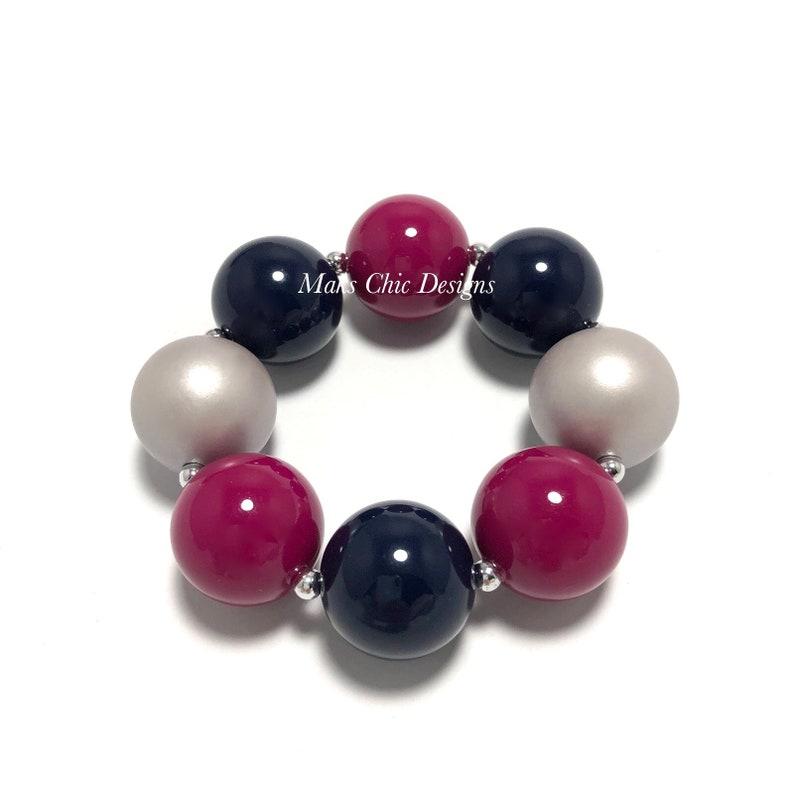 Dark Blue Berry and Silver Chunky bracelet  Plaid Chunky image 0