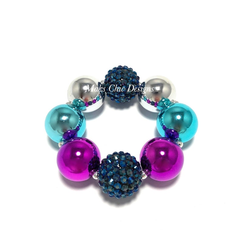 Navy Silver Turquoise and Purple Chunky bracelet  Princess image 0